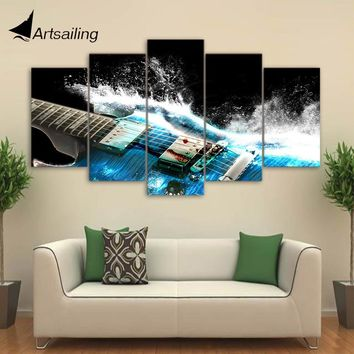 5 Pieces Canvas Art Painting Printed Abstract Guitar Wall Art