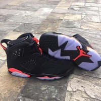 Air Jordan 6 Retro Men Black Infrared Aj6 Basketball Shoes - Beauty Ticks