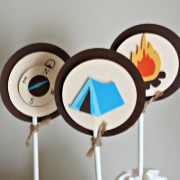 Camping Theme Birthday Party Cupcake Toppers Setof 12, Camping Party, Camping Birthday Decorations