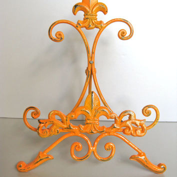 Orange Easel, Metal Easel, Book Stand, Art Prop, Shabby and Chic, Fleur De Lis, Parisian Chic, Cottage Chic, French Country