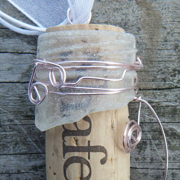 Sea glass bottle neck necklace wrapped in light pink wire. Sea glass and Cork Pendant. ON SALE WAS 18.00