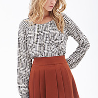 FOREVER 21 Pleated Crepe Woven Skirt Rust