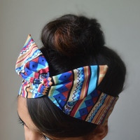 Tribal Dolly bow headband, Military American Flag head band, hair bow