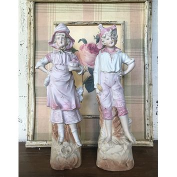 Pair Vintage Parisian French Country Figurines Boy & Girl Pink & White Hand Painted