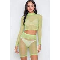 Sheer Top & Biker Shorts Set | Lime