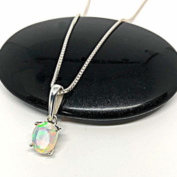 Ethiopian Opal Pendant, Genuine White Opal Necklace