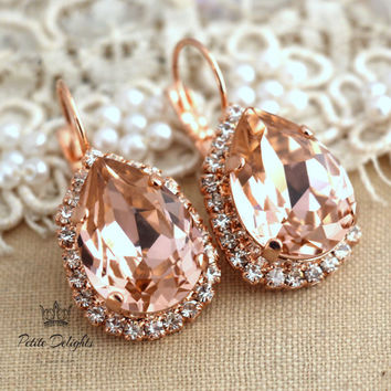 Pink blush peach rose gold lever back earrings rhinestone swarovski crystal jewelry - 18k Rose gold plated dangle earrings, bridesmaids gift