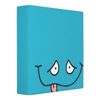 funny tongue out face blue notebook vinyl binder from Zazzle.com