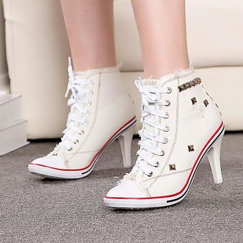 Rivets Denim Round Toe Lace Up Middle Heel Short Boot