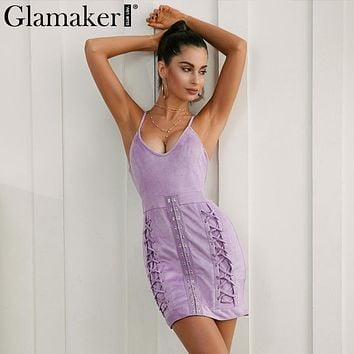 Glamaker Sexy lace up strap Sleeveless short dress women Deep v neck harness bodycon suede dress Fitness casual party dress