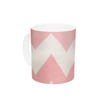 "Catherine McDonald ""Sweet Kisses"" Pink Chevron Ceramic Coffee Mug"