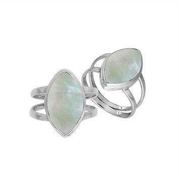 "AR-6236-MOP-8"" Sterling Silver Marquise Shape Ring With Mother Of Pearl"