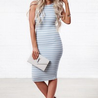 Oh Please Striped Bodycon (Blue/White)