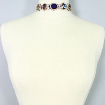 "16"" crystal choker necklace collar bib bridal prom"