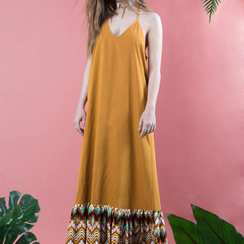 Maxi dress, maxi dress with ruffles, ruffled hem dress, mustard, open back dress, low back dress, Aztec pattern