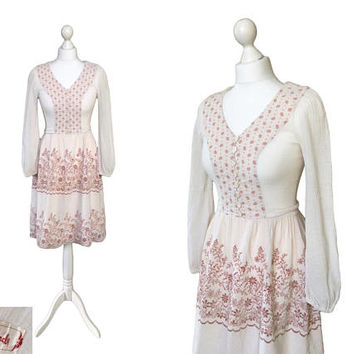 Vintage Betty Barclay Cheesecloth Dress | 1970's Dress | 70's Gauze Boho Hippy Dress