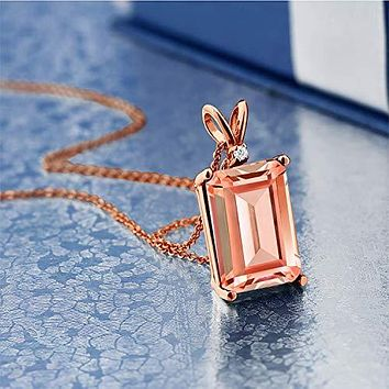 Emerald Cut 4.00 CTTW Morganite Drop Necklace in 14K Rose Gold