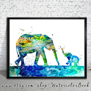 Mom and Baby 2 Elephant Watercolor Print, Fine Art Print, Children's Wall Art, animal watercolor, watercolor painting, elephant watercolor