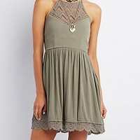 CROCHET-TRIM SKATER DRESS