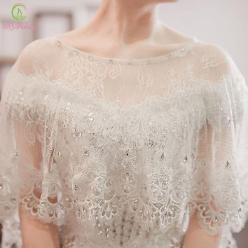 Wedding Shawl White Lace Shawl Luxury Beading Bridal Shawls Wedding Wrap Jacket Accessories
