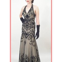 Vintage Inspired Beaded Embroidered Black Tulle Halter Evening Gown