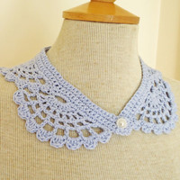 Crochet Collar, Peter Pan Style crochet Collar, Blue Collar, Lace Crochet Collar, UK Seller