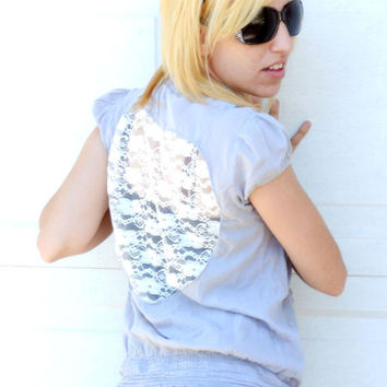 Upcycled womens lace heart cut out  top, shirt, tunic