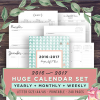 2016-2017 Planner + Calendar Set, Printable Planner Inserts, Monthly Calendar, Weekly Agenda, Year at a Glance, A5, A4, Letter, Academic