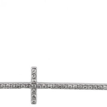 2 Pieces of Silvertone with Clear Iced Out Sideways Cross Pendant with a 20 Inch Adjustable Link Chain Necklace