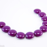 Purple Lentil Glass Beads 14mm (10) Opaque Pressed Czech Flat Round Disc Coated Bright
