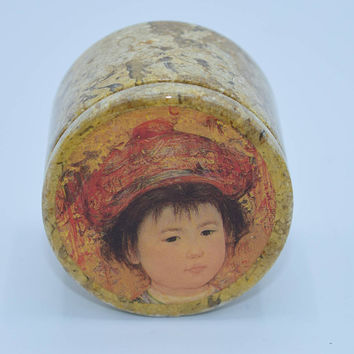 Edna Hibel Marble Box Vintage Asian Child Jewelry Storage Artist Hibel Jewelry Box Marble Keepsake Box Small Trinket Box Ring Box Holder