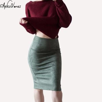 WomenVelvet Solid Color Midi Pencil Skirts Women 2017 new Fashion Basic Bodycon Tube Sexy Skirt Saia Femininas Office Lady Skirt