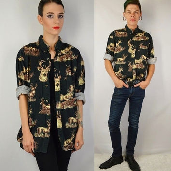 90s Deer Shirt Collar Men Large Grunge Wildlife Hipster Soft Grunge Preppy Country Vintage Mens Clothing Unisex Black Button Up Shirt