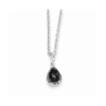 Sterling Silver Black & White Diamond Teardrop Pendant Necklace