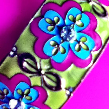 Floral Enamel Cuff Bracelet PINK GREEN Gift Fashion Jewelry Preppy Women Teens Girls