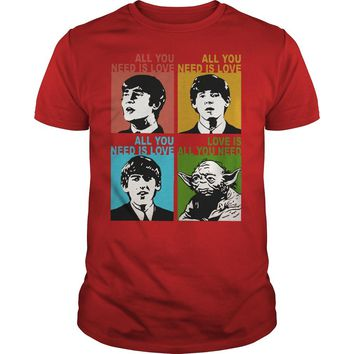 The beatles and Yoda all you need love shirt Premium Fitted Guys Tee