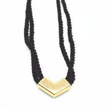 Gold Arrow Necklace, Rope Necklace, Chevron Necklace, Blue, Pink, Black, Bridesmaid Jewelries, Friendship Graduation Birthday Gifts