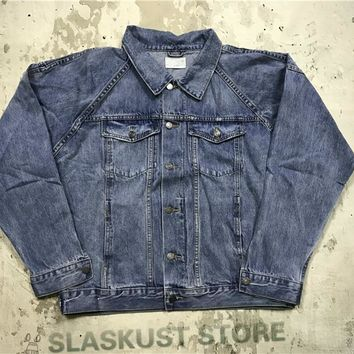 New Arrivals Oversize Distressed Denim Jacket High Quality Mens Vintage Washed Ripped Coats Free Shipping