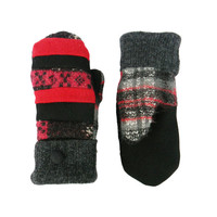 Red and Black Wool Mittens, Sweater Mittens, Women's mittens, Handmade in Wisconsin Lumberjack Sweaty Mitts Patchwork Plaid Gray Ecofriendly