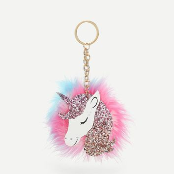 Unicorn Shaped Pom Pom Bag Accessory