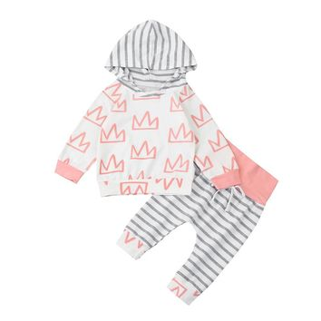 Baby girls Hooded set Toddler Infant Baby Girls Boys Crown Print Clothes Set Hooded Tops+Pants Outfits drop shipping