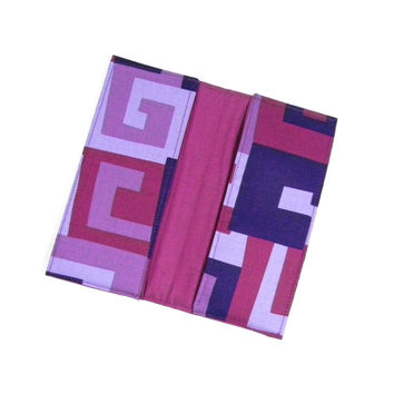 Checkbook Cover Purple Maze Fabric