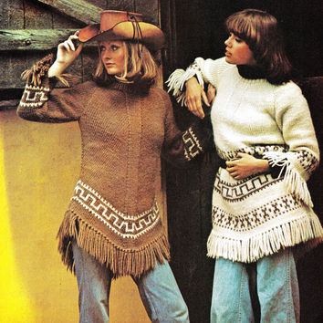 Vintage 2 poncho sweaters western jacket shawl knitting pattern PDF Instant Download Coat Jacket crochet supplies epsteam knitting pattern