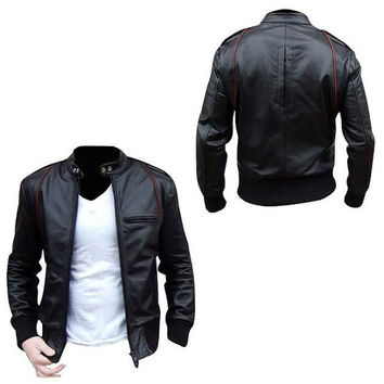 Men Black Biker leather jacket with red lining and quality pure leather, real leather jacket
