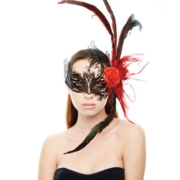 Kayso Laser Cut Mask W-red Rose & Feathers - Black