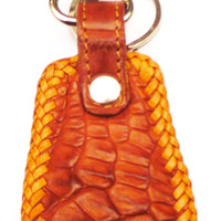 Crocodile leather key ring fob brown