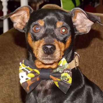 Dog Pet Bow Tie  Camo Crossbones Dog Collar Pet Supplies Pet Accessories Dog Fashion Ring Bearer Wedding
