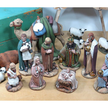 14 Pieces of Holland Mold Nativity Figurines . Baby Jesus . Mary . 3 Wise Men . Camel Sheep and More . Vintage