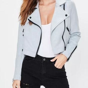 Blue Lapel Zipper Detail Leather Look Biker Jacket