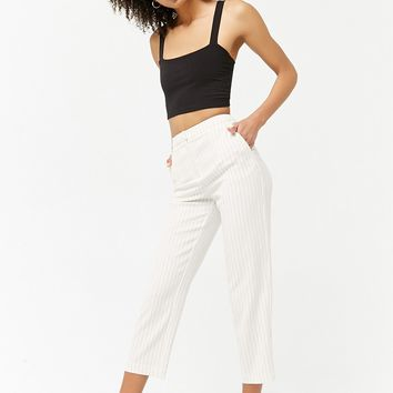 Stitch-Striped High-Waist Trousers
